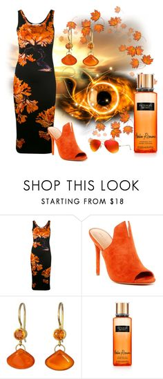 """Orange and Black"" by mystic2awesome ❤ liked on Polyvore featuring Givenchy, Halston Heritage, Mallary Marks, Victoria's Secret and Ray-Ban"