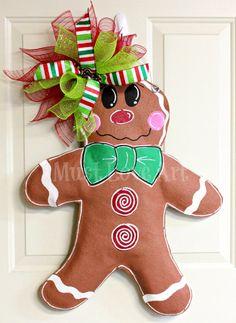 Gingerbread Boy Burlap Door Hanger Christmas Decoration on Etsy, $40.00 doors, fav craft, gingerbread boy, hanger christma, christmas decorations, burlap door hangers christmas, wreath made out of burlap, mustloveartstudio, boy burlap