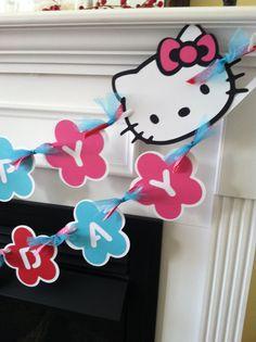 Hello Kitty  Birthday Banner. $18.00, via Etsy.