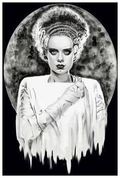 Monster's Bride of Frankenstein by Shayne Dead Bohner Moon Art Print