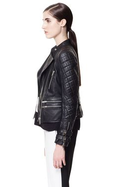 BIKER LEATHER JACKET WITH BUCKLES
