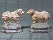 Love these! CAST IRON SHEEP/RAM BOOKENDS OR DOOR STOPS, ANTIQUE