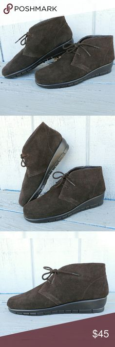 """Brown Desert Boot Dark brown lace-up desert boot in soft suede. Scored 1.5"""" wedge, diamond flex sole. Memory foam insole provides extreme comfort.  Size: 7 1/2  NO Trade / NO Paypal AEROSOLES Shoes Lace Up Boots"""