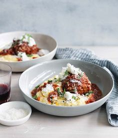 Big pork and prosciutto meatballs with polenta recipe - Blend tomato, onion, garlic and herbs in a blender until smooth. Tip mixture into a large saucepan : Gourmet Traveller Magazine Mobile Polenta Recipes, Pork Recipes, Pasta Recipes, Dinner Recipes, Cooking Recipes, Healthy Recipes, Beef Mince Recipes, Pork Mince, Shrimp Recipes