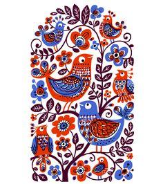 Birds two colour print by Galia Bernstein