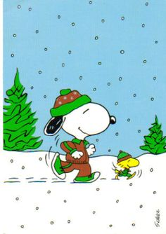 Snoopy & Woodstock Jogging in snow