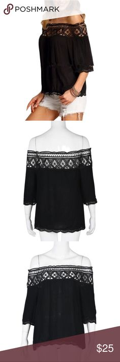 Crocheted Off the Shoulder Top Crocheted off the shoulder top in black! Gorgeous crochet work on the the neckline and flows very nicely. Never worn but is a reposh because I bought it and ended up deciding against it when it arrived. Free People Tops Blouses
