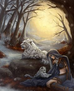 Marina contributed this beautiful depiction of a Guild Wars 2 character spending some time with snow leopards: http://thedeathspell.deviantart.com/art/Shelter-341141642