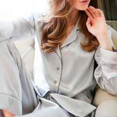 Take your lounge experience to new heights with these stunning HAND-MADE PYJAMAS in Luxurious Silverlight Grey Silk. Finished with delicate silk