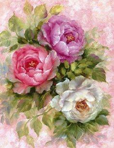 Flower art of Gary Jenkins Arte Floral, Decoupage, Gary Jenkins, Purple And White Flowers, Colorful Flowers, Pink Purple, Diamond Paint, Diamond Wall, Vintage Flowers