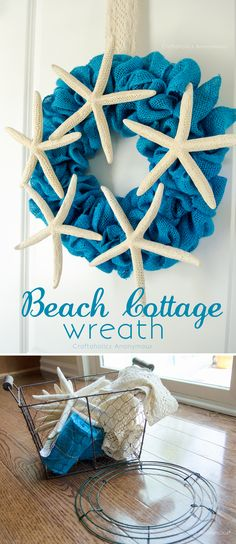 Simple and chic beach-y wreath. Love the idea to hang a wreath with crochet lace trim.