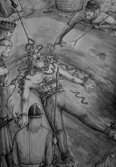 The Story of Ragnar Lothbrok - King Aella (upper left) gloats as poisonous snakes are dropped onto Ragnar Lothbrok. There's an Eagle in his future, courtesy of Ragnar's son, Bjorn Ironside. Norse Pagan, Norse Mythology, Anglo Saxon History, Thor, Viking Life, King Ragnar, Ragnar Lothbrok, Norse Vikings, Asatru