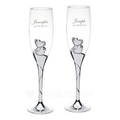 [US$ 49.99] Personalized Double Hearts Glass/Aluminum Toasting Flutes (Set of 2) (118058271)