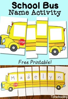 Name Activity with Free Printable FREE School Bus Name Puzzle. Perfect for back to school or anytime.FREE School Bus Name Puzzle. Perfect for back to school or anytime. Preschool Names, Preschool Classroom, Preschool Learning, Preschool Crafts, Toddler Preschool, Teaching Kids, Free Preschool, Preschool Worksheets, Diy Crafts