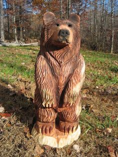Mark has chainsaw carved several of these adorable bear cubs from cedar and poplar logs. They have a rustic style while still showing