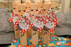 A conductor hat and train whistle make the cutest party favors!