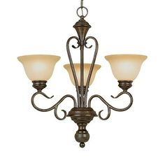 Burnished Gold 3 Light Chandelier