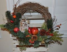 Owl Wreath Fall Wreath Apple Wreath with Pine by TheBloomingWreath, $44.99