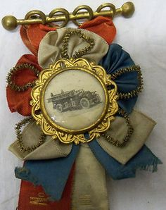 Antique 1918 Fancy Union SFE Co No 7 Harrisburg PA Fire Department Ribbon Badge | eBay