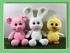 Little Chubbies are the first set of 3 that will include a duck, piggy and a bunny, They are the perfect size for gifting and work up very quickly.