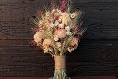Rustic Farmhouse Wedding Bouquet, Bridesmaid Bouquet, Shabby Chic, Dried Flower Bouquet, Blush Peony Bouquet with Wheat and Wild Flowers by terrie