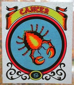 "Vintage Zodiac IRON ON TRANSFER For T-Shirts: ""Cancer The Crab"" - 1970's Old Stock by MADsLucky13"