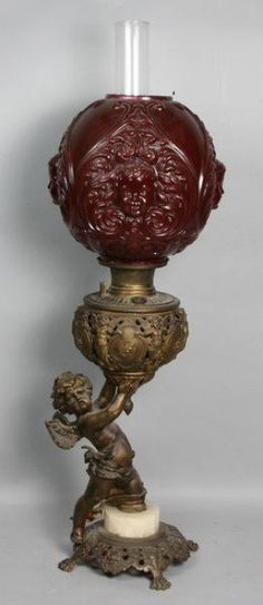 Victorian figural oil lamp with cupid and mandolin shade, x on Mar 2011 Antique Light Fixtures, Antique Lamps, Antique Lighting, Vintage Lamps, Antique Items, Baroque Design, Kerosene Lamp, Oil Candles, Victorian Furniture