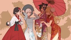 RWBY cast in Asian dresses Rwby Anime, Rwby Fanart, Anime Manga, Anime Art, Manga Girl, Anime Girls, Rwby Oc, Team Rwby, Character Art