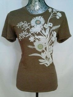 FOSSIL BURNOUT FLORAL ARTSY INDIE FITTED TOP TEE SHIRT M STRETCH BOHO BROWN  #Fossil #KnitTop #Casual