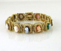 ON SALE NOW! 14k Yellow Gold  Multi Color Cameo Women's Victorian Bracelet WM