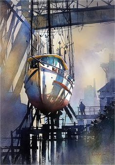 Out of Water by Thomas W. Schaller Watercolor ~ 30 Inches x 22 Inches