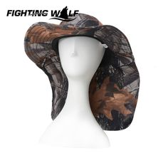 1df557eaa0d3f Aliexpress.com   Buy Outdoor Men Camouflage Hiking Fishing Bucket Hats  Military Airsoft Wide Brim Adjustable Boonie Hat Sunshade Dustproof  Breathable from ...