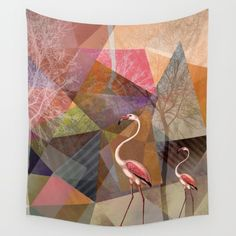 Portrait-Version of Flamingo P23, from my new project work  ©2016 by Pia Schneider | atelier COLOUR-VISION #flamingos, #rosequartz #polygons,  #triangles #art #tapestries #animals #tropical #pink #geometric #kunst #piaschneider #society6 #dierscheid #ateliercolourvision