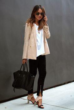 black jeans, a white tee, a blush jacket and shoes, a black bag