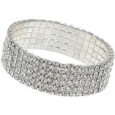 Rhinestone Stretch Bracelet ($18) ❤ liked on Polyvore featuring jewelry, bracelets, crystal, rhinestone bangle, stretch jewelry, rhinestone jewelry and sparkle jewelry