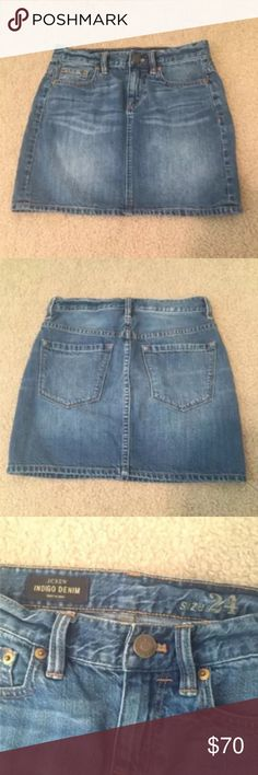 J.Crew jeans skirt NWOT! Never wear! Size 24 /XS .  Waist 13.5 inches, hip 17 inches, length 14inches. J. Crew Skirts Mini