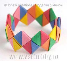 Como hacer un Brazalete o Pulsera de Origami. Tutorial - enrHedando