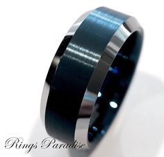 The modern and stylish Tungsten jewelry with the Inside Engraving makes it special and unique for every couple. Mens Wedding Bands Blue, Wedding Band Sets, Wedding Men, Wedding Rings, Blue Wedding, Dream Wedding, Wedding Ideas, Tungsten Jewelry, Tungsten Mens Rings