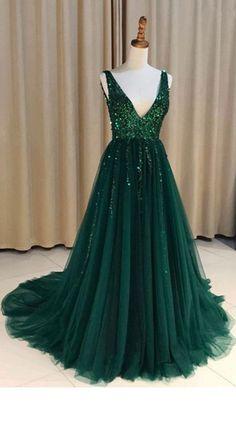 Special V Neck V Back Tulle Green Long #prom #promdress #dress #eveningdress #evening #fashion #love #shopping #art #dress #women #mermaid #SEXY #SexyGirl #PromDresses