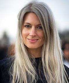 Sarah Harris - Long gray hair is her trademark. Lovely!