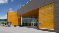 Exterior View at Main Entry - South Junior High School - Architecture - Gould Evans