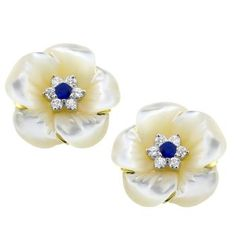 0.80ct Sapphire 1.20ct Diamond Mother of Pearl Flower Earrings