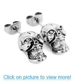 JBlue Jewelry men's Stainless Steel Stud Earrings Silver Skull White CZ (with Gift Bag)
