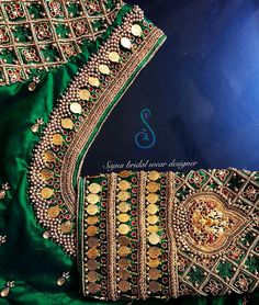 No photo description available. Saree Jacket Designs, Wedding Saree Blouse Designs, Pattu Saree Blouse Designs, Blouse Designs Silk, Designer Blouse Patterns, Kids Blouse Designs, Maggam Work Designs, Coin Design, Work Blouse