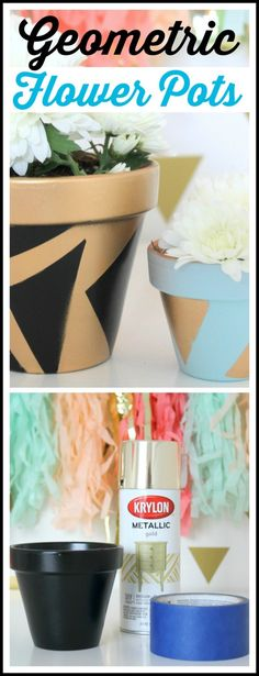 Learn to make these geometric flower pots with spray paint and painters tape. Perfect for spring! See more party ideas and crafts at CatchMyParty.com.