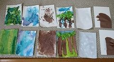 """Art activities related to the book """"We're going on a bear hunt""""."""