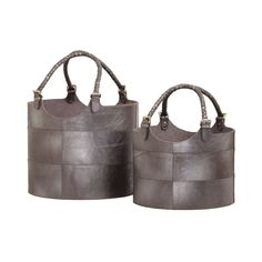 Silver Nested Gunmetal Leather Buckets- Set of 2