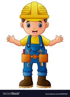 Cartoon construction worker vector image on VectorStock Construction Theme Classroom, Under Construction Theme, Construction Birthday, Construction Worker, Color Worksheets For Preschool, Activities For Kids, Engineer Cartoon, Tool Party, Community Workers