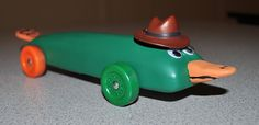 Perry the Platypus pinewood derby car