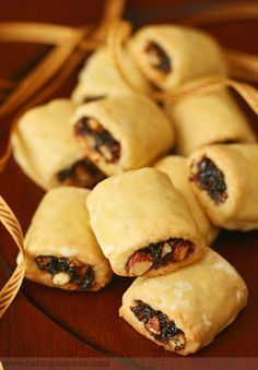 ~Cuccidati (Sicilian Fig Cookies)-think Fig Newton's made Italian style with orange & lemon zest, almonds & walnuts-delicious. Italian Fig Cookies, Italian Christmas Cookies, Italian Pastries, Italian Desserts, Italian Cookie Recipes, French Pastries, Fig Recipes, Sicilian Recipes, Holiday Recipes